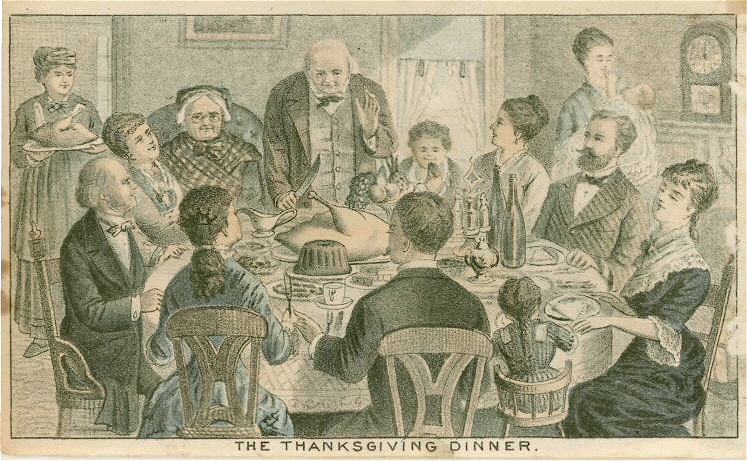 The Thanksgiving Dinner, 1870. Source: American Broadsides and Ephemera, Series 1, via wikimedia. [Image: Public Domain]