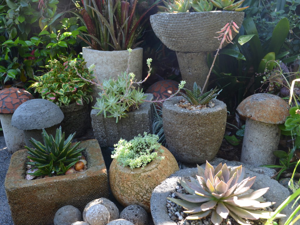 hypertufa pots planted with succulents