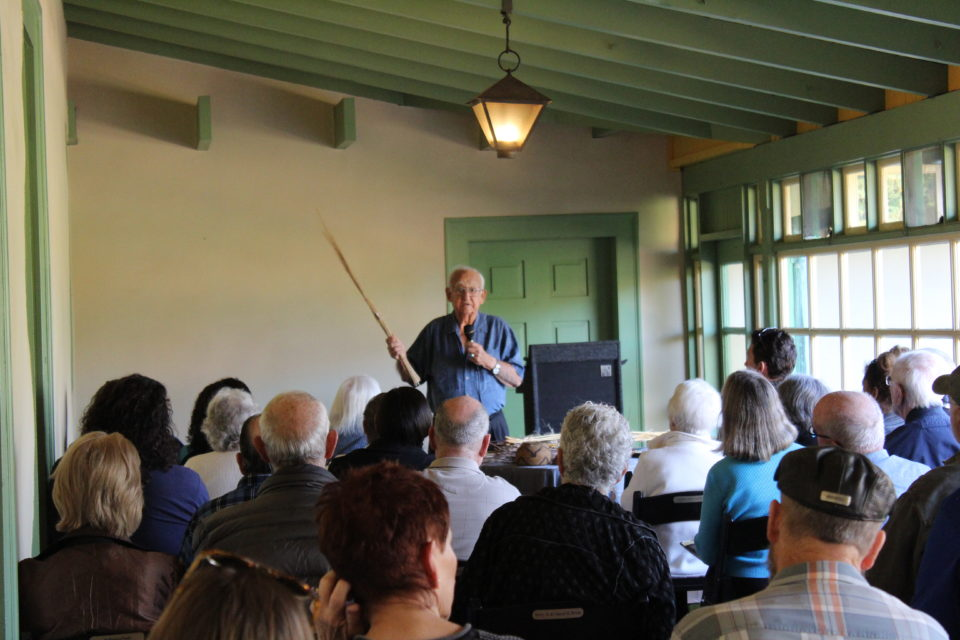 Native American elder Justin Farmer lectures to crowd at Rancho Los Cerritos