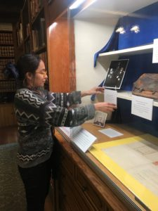 Arts Council Intern Keila Rivera focuses on John Temple and the cattle ranching period at RLC. This installation is the first in a series of displays that will commemorate the 175th anniversary of the Rancho adobe's construction.