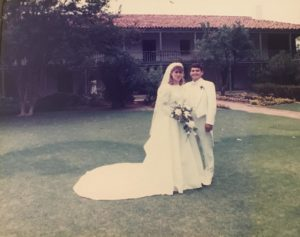 Kirsten and NEED NAME on their wedding day here at Rancho Los Cerritos, June 3, 1989.