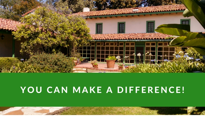 "Volunteer and help make a difference at Rancho Los Cerritos! (Photo of Adobe with ""You Can Make a Difference"" text)"