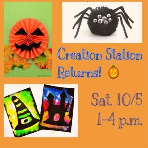 "Creation Station returns to Rancho Los Cerritos in October with ""Outrageous Orange"" crafts. (Photo shows ""Creation Station Returns! Sat. 10/5 1-4 p.m."" with photos of Jack-o-Lantern paper craft, pom-pom spider craft, and Halloween silhouette paper art)."