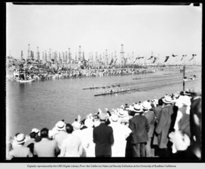 View of a Crowd Watching a Rowing Competition in Long Beach 1932
