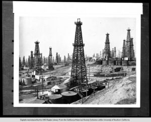 View of the Signal Hill Oil Field in Los Angeles