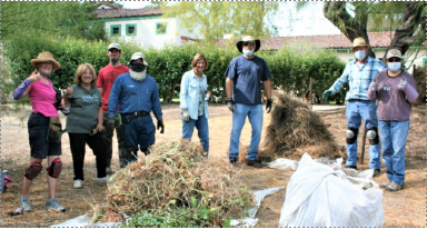 Garden Volunteers Barbara Williams, Laura Breen, Ryan Eastman, Rashid Ocheltree, Fran Woods, Tom Stillwagon, Al Barber, and Joyce Shirado.